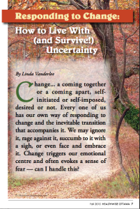 """Responding to Change"" article in Healthwise Ottawa, Fall 2010"